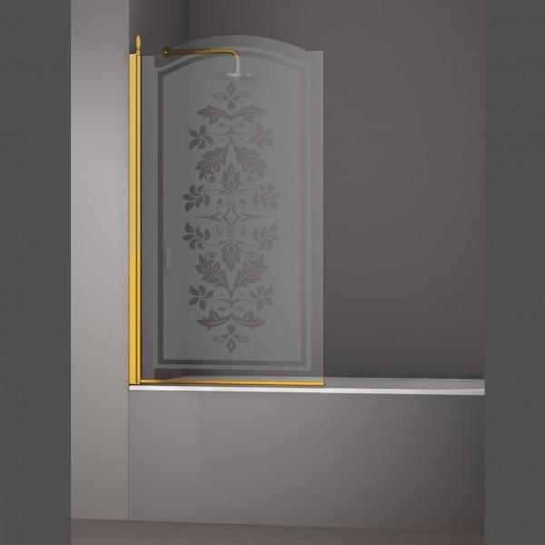 Шторка на ванну STURM Juwel Left 900x1500 стекла с декором. Золото LUX-JUWE09-LD1GL