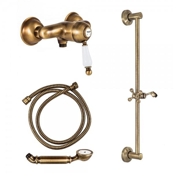 Комплект для душа STURM EM смеситель настенный, душевая штанга, ручной душ, шланг бронза/белая керамика KIT-EMI-4411-BR