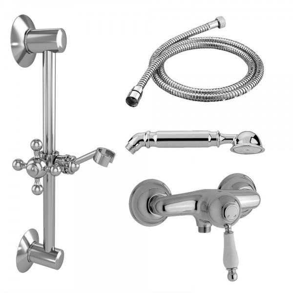 Комплект для душа STURM EM смеситель настенный, душевая штанга, ручной душ, шланг хром/белая керамика KIT-EMI-4411-CR