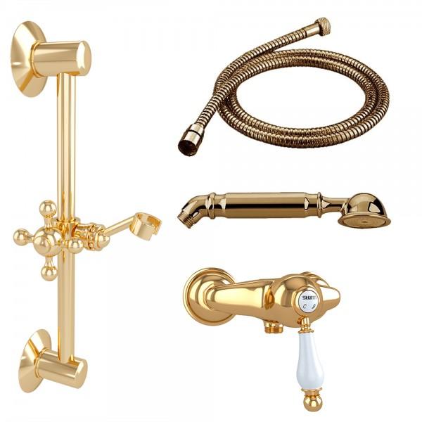 Комплект для душа STURM EM смеситель настенный, душевая штанга, ручной душ, шланг золото/белая керамика KIT-EMI-4411-GL