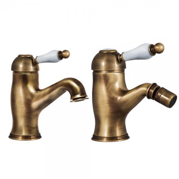 Комплект смесителей STURM EM для раковины и биде на 1 отверстие с донным клапаном бронза/белая керамика KIT-EMI-5155-BR