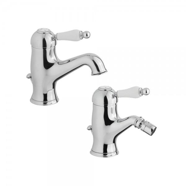Комплект смесителей STURM EM для раковины и биде на 1 отверстие с донным клапаном хром/белая керамика KIT-EMI-5155-CR