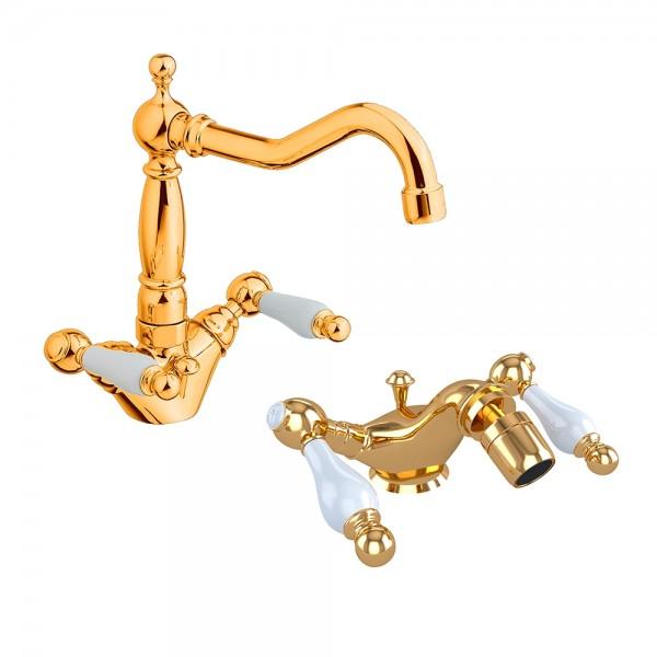 Комплект смесителей STURM EM для раковины и биде двухрычажных на 1 отверстие с донным клапаном золото/белая керамика KIT-EMI-5255-GL