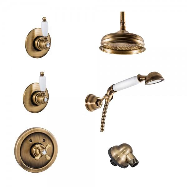 Комплект для душа STURM EM термостат со встраиваемой частью, запорный вентиль со встраив. частями, держатель, шланговое подсоединение, ручной душ, шланг, верхний душ на потолочном кронштейне бронза/белая керамика KIT-EMI-DO725425-BR