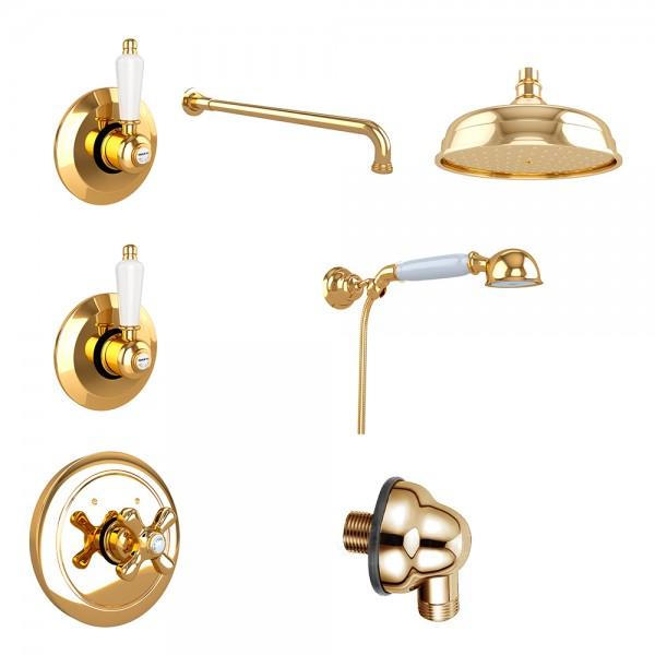 Комплект для душа STURM EM 10 частей в комплекте золото/белая керамика KIT-EMI-DO725450-GL