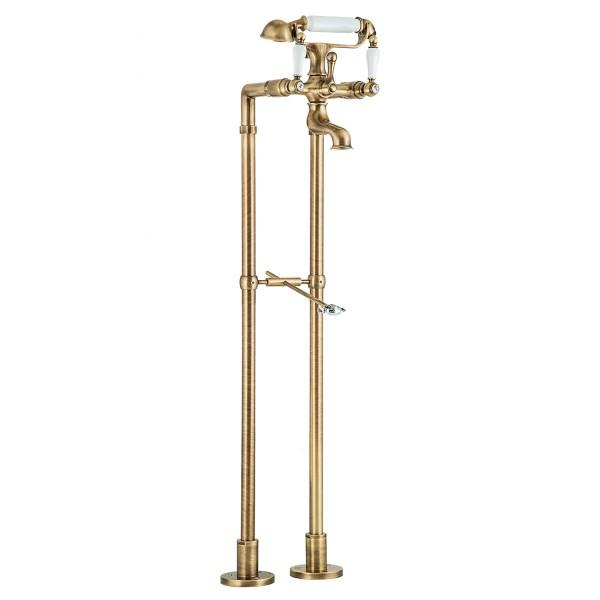 Смеситель напольный STURM EM для ванны с ручным душем и шлангом бронза/белая керамика KIT-EMI-VA1283-BR