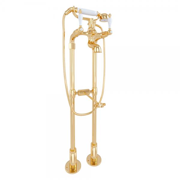 Смеситель напольный STURM EM для ванны с ручным душем и шлангом золото/белая керамика KIT-EMI-VA1283-GL