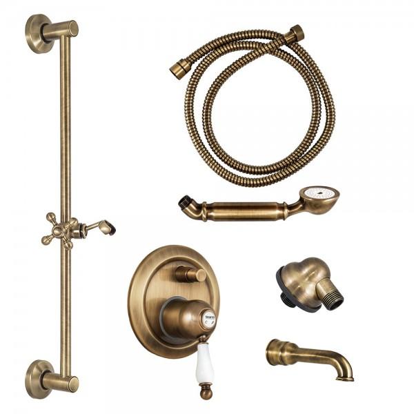 Комплект для ванны STURM EM смеситель с дивертером, встраиваемая часть, шланговое подсоединение, душевая штанга, ручной душ, шланг, излив бронза/белая керамика KIT-EMI-VA2111-BR