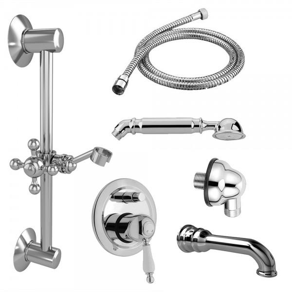 Комплект для ванны STURM EM смеситель с дивертером, встраиваемая часть, душевая штанга, шланговое подсоединение, душевая штанга, ручной душ, шланг, излив хром/белая керамика KIT-EMI-VA2111-CR