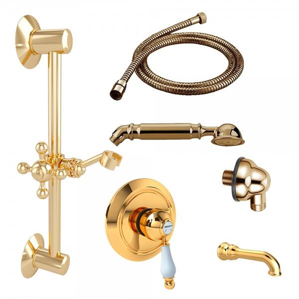 Комплект для ванны STURM EM смеситель с дивертером, встраиваемая часть, шланговое подсоединение, душевая штанга, ручной душ, шланг, излив золото/белая керамика KIT-EMI-VA2111-GL