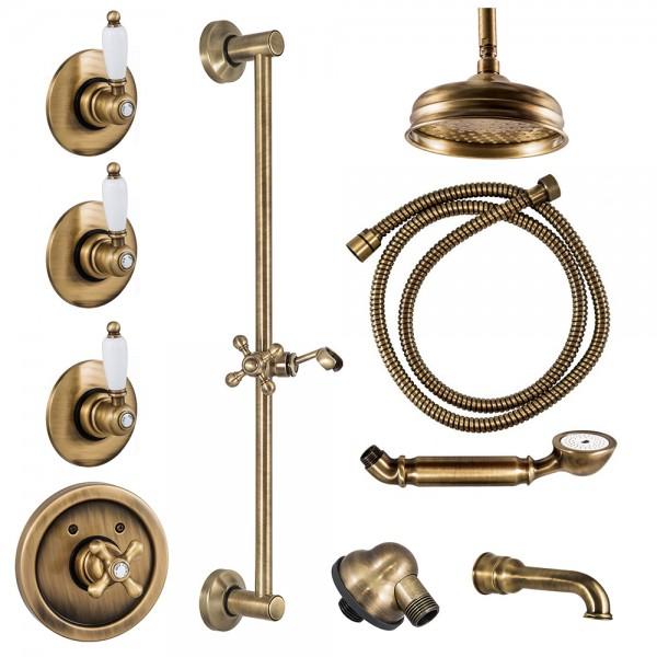 Комплект для ванны STURM EM 9 частей набора цвет бронза/белая керамика KIT-EMI-VA721125-BR