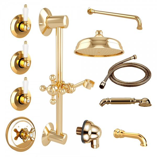 Комплект для ванны STURM EM 12 частей в комплекте золото/белая керамика KIT-EMI-VA721150-GL