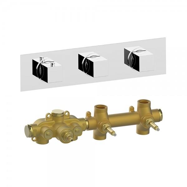Термостат STURM RA встраиваемый, горизонтальный, на 2 потребителя (в комплекте встраиваемая часть), хром KIT-HUC-RAR2-CR