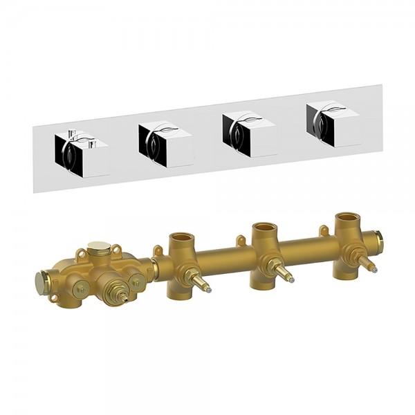 Термостат STURM RA встраиваемый, горизонтальный, на 3 потребителя (в комплекте встраиваемая часть), хром KIT-HUC-RAR3-CR
