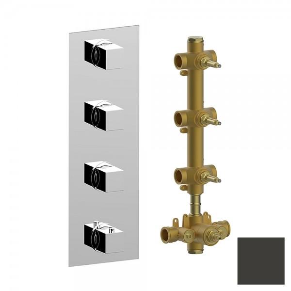 Термостат STURM RA встраиваемый, вертикальный, на 3 потребителя (в комплекте встраиваемая часть), черный матовый KIT-HUC-RAV3-BM