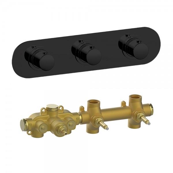 Термостат STURM SM встраиваемый, горизонтальный, на 2 потребителя (в комплекте встраиваемая часть), черный матовый KIT-HUC-SMR2-BM
