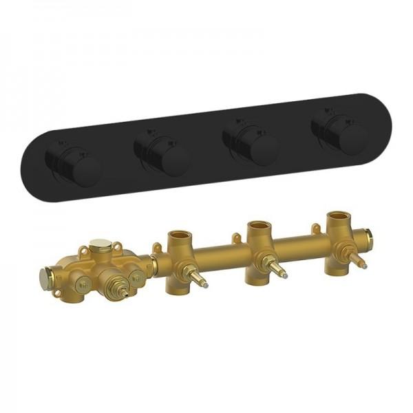 Термостат STURM SM встраиваемый на 3 потребителя (в комплекте встраиваемая часть) горизонтальный, черный матовый KIT-HUC-SMR3-BM