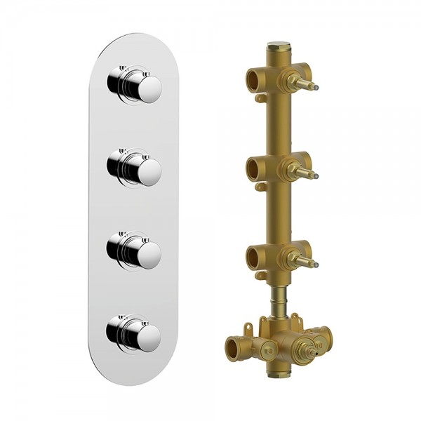 Термостат STURM SM встраиваемый, вертикальный, на 3 потребителя (в комплекте встраиваемая часть), хром KIT-HUC-SMV3-CR