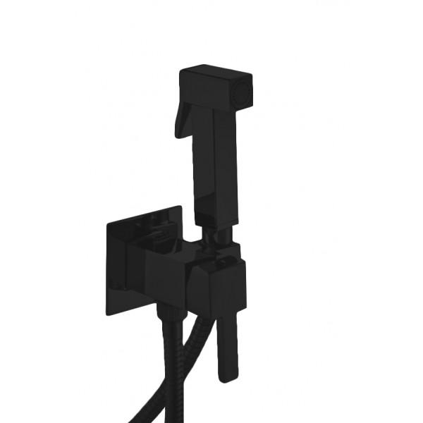 Комплект: Встраиваемый смеситель с внутренней частью и гигиеническим душем STURM Winkel, квадратный, чёрный матовый, LUX-CUB52-BM+LUX-WINKEL1-BM