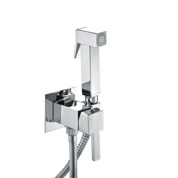 Комплект: Встраиваемый смеситель с внутренней частью и гигиеническим душем STURM Winkel, квадратный, хром, LUX-CUB52-CR+LUX-WINKEL1-CR