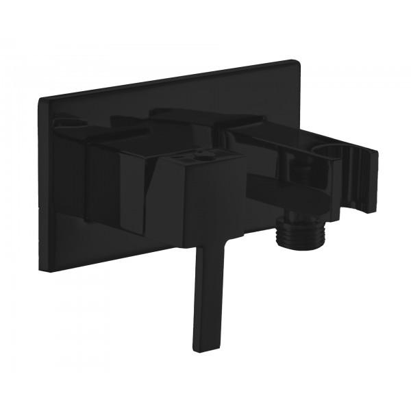 """Смеситель STURM Universal """"квадратный"""" на пластине (в компл. встраиваемая часть, держ.-подсоединение) для душа, чёрный матовый LUX-CUB54-BM"""