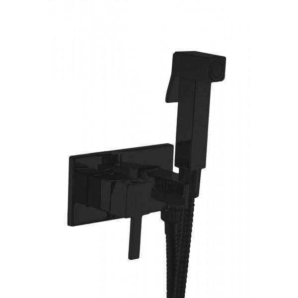 Комплект: Встраиваемый смеситель с внутренней частью и гигиеническим душем STURM Winkel, квадратный на пластине, чёрный матовый, LUX-CUB54-BM+LUX-WINKEL1-BM