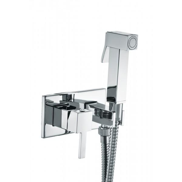 Комплект: Встраиваемый смеситель с внутренней частью и гигиеническим душем STURM Winkel, квадратный на пластине, хром, LUX-CUB54-CR+LUX-WINKEL1-CR
