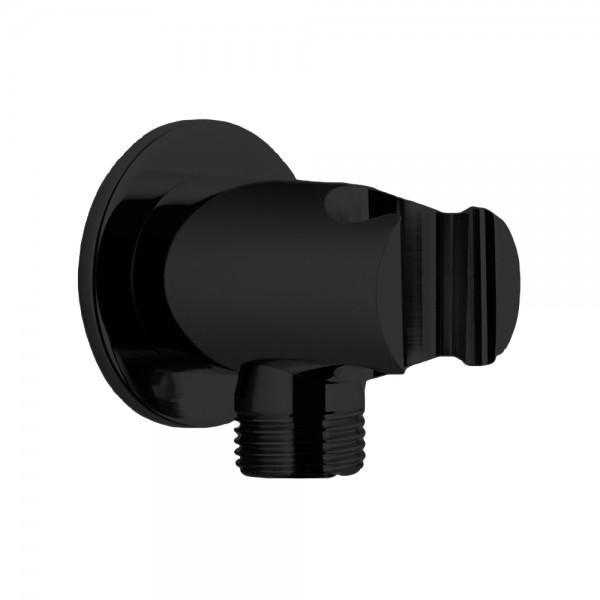 Шланговое подсоединение STURM DS с держателем ручного душа (фланец ø50 мм), черный матовый LUX-DS1088-BM