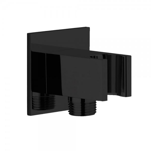 Шланговое подсоединение STURM DS с держателем ручного душа (фланец 60*60 мм), матовый черный LUX-DS10B3-BM