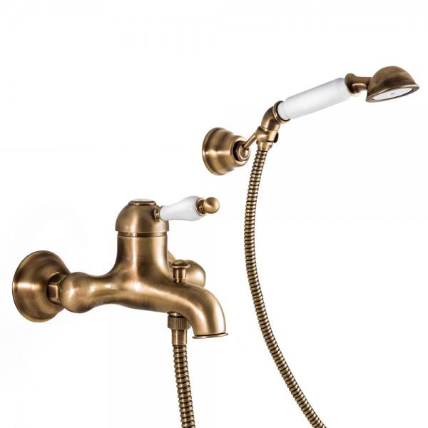 Смеситель для ванны STURM Emilia однорычажный, бронза/белая керамика LUX-EMI-20012-BR