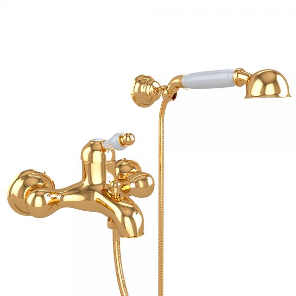Смеситель для ванны STURM Emilia однорычажный, золото/белая керамика LUX-EMI-20012-GL