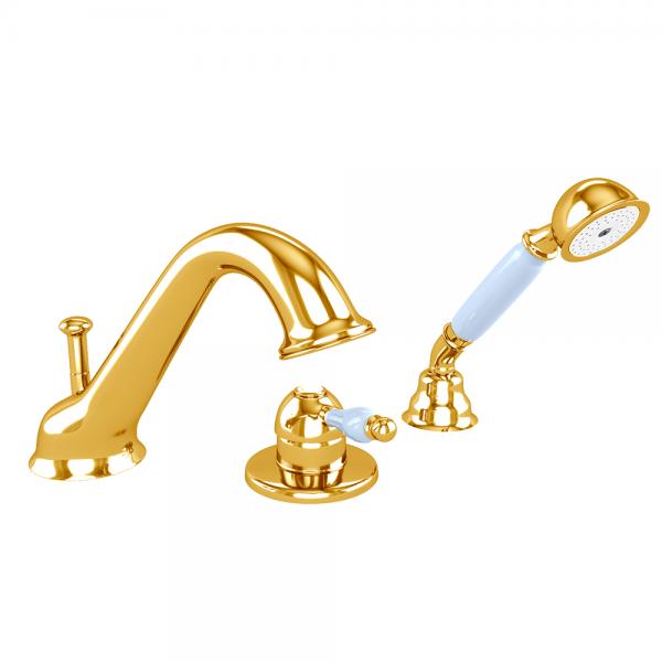 Смеситель для ванны STURM Emilia на 3 отверстия (на гориз. поверхность), золото/белая керамика LUX-EMI-20126-GL
