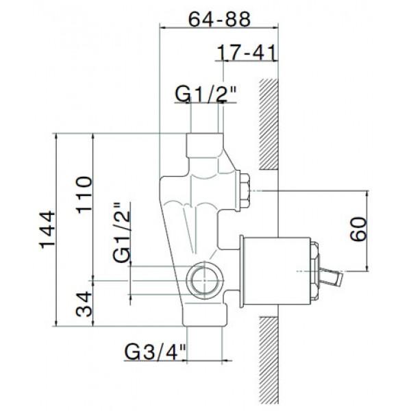 Встраиваемая часть смесителя с переключателем для ванны/душа 1/2 STURM Emilia LUX-EMI-22100-NN