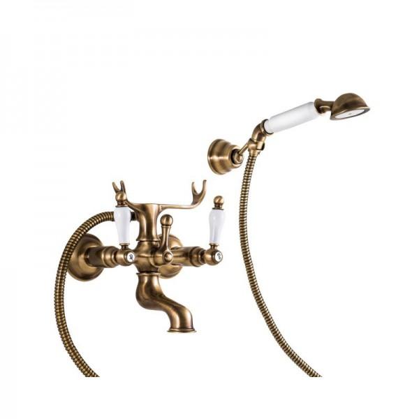 Смеситель для ванны STURM Emilia двухрычажный, бронза/белая керамика LUX-EMI-30012-BR