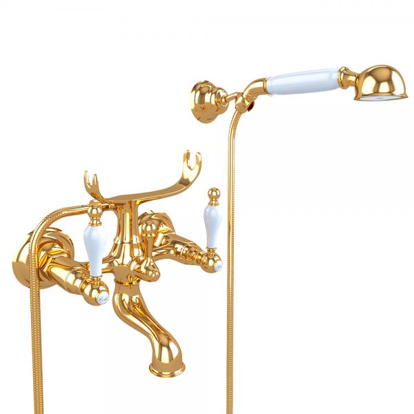 Смеситель для ванны STURM Emilia двухрычажный, золото/белая керамика LUX-EMI-30012-GL