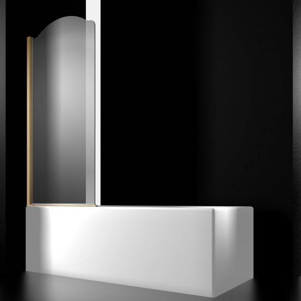 Шторка на ванну STURM Juwel Left 800x1500 прозрачные стекла. Золото LUX-JUWE08-LTRGL