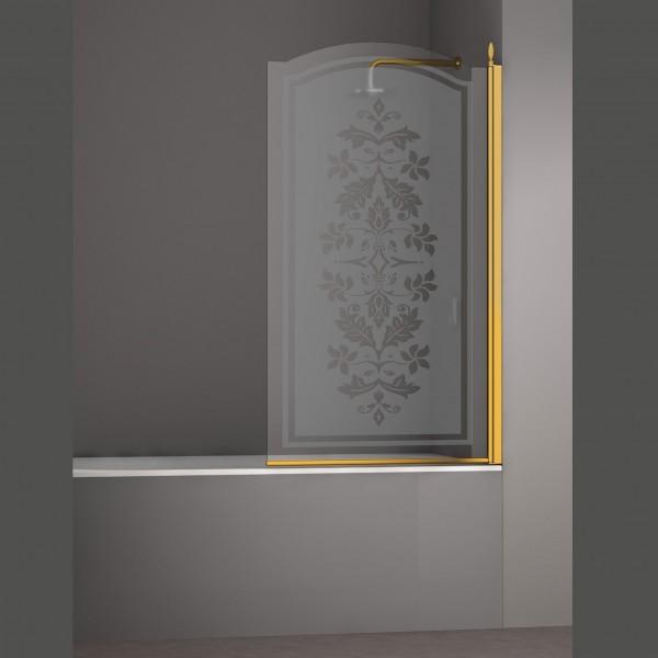 Шторка на ванну STURM Juwel Right 800x1500 стекла с декором. Золото LUX-JUWE08-RD1GL