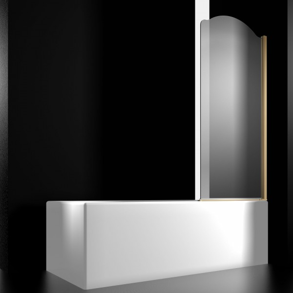 Шторка на ванну STURM Juwel Right 800x1500 прозрачные стекла. Золото LUX-JUWE08-RTRGL