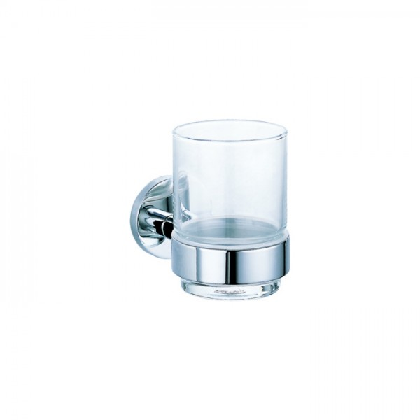 Стаканчик для зубных щёток STURM Round, прозрачное стекло, хром, LUX-RND111-CR
