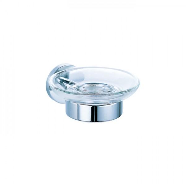 Мыльница STURM Round, прозрачное стекло, хром, LUX-RND211-CR