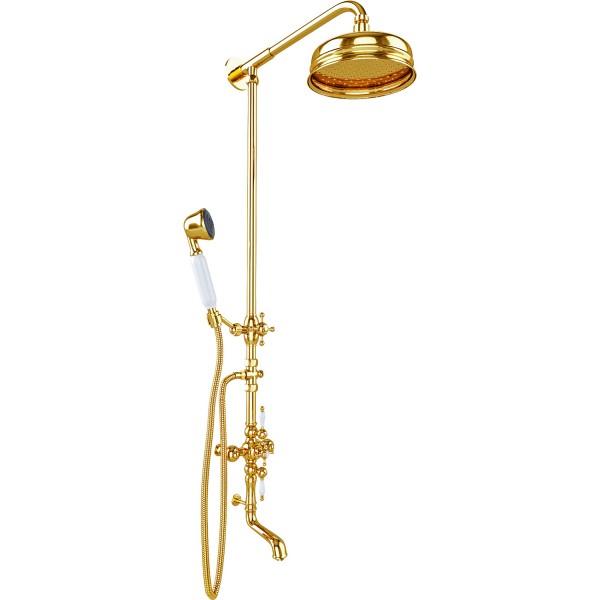 Душевая стойка STURM Victorian с изливом для ванны, золото LUX-VICTORIAN-GL