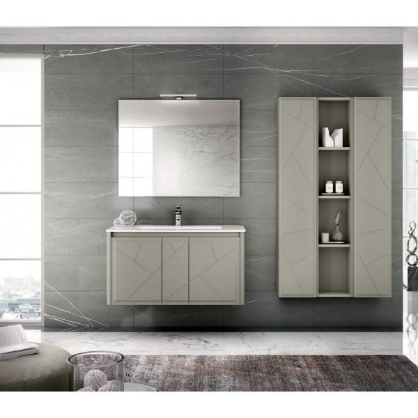 Комплект мебели STURM Bella 1050*510*550 мм раковина с 1 отв. под смеситель - белый глянец, тумба с 2 распаш. фасадами, серый матовый ST-BELLA105G-GM