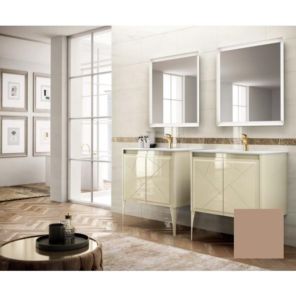 Комплект мебели STURM Bella 850*510*550 мм раковина с 1 отв. под смеситель - белый глянец, тумба с 2 распаш. фасадами, бежевый матовый ST-BELLA85G-CM