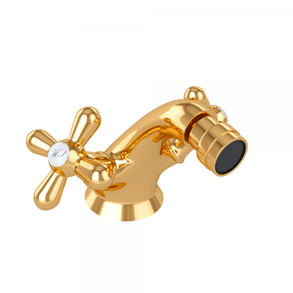 Смеситель для биде STURM Classica двухрычажный с донным клапаном, золото ST-CLA-32060-GL