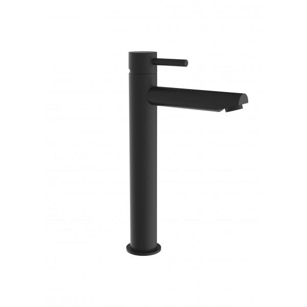 Смеситель для раковины STURM Daiquiri Black высокий излив 235 мм длина 153мм на 1 отверстие с донным клапаном click-clack, чёрный матовый ST-DAI-91470-BM