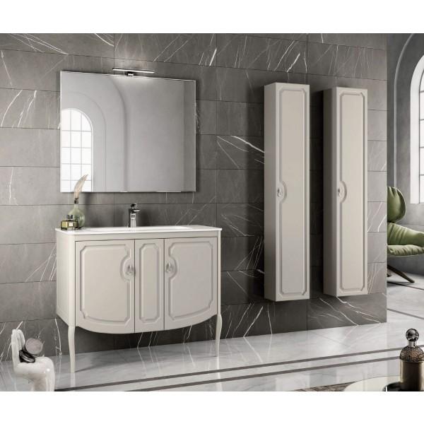 Комплект мебели STURM Fleur 1050*510*830 мм раковина с 1 отв. под смеситель - белый глянец, тумба с 2 распаш. фасадами, серый матовый ST-FLEUR105G-GM