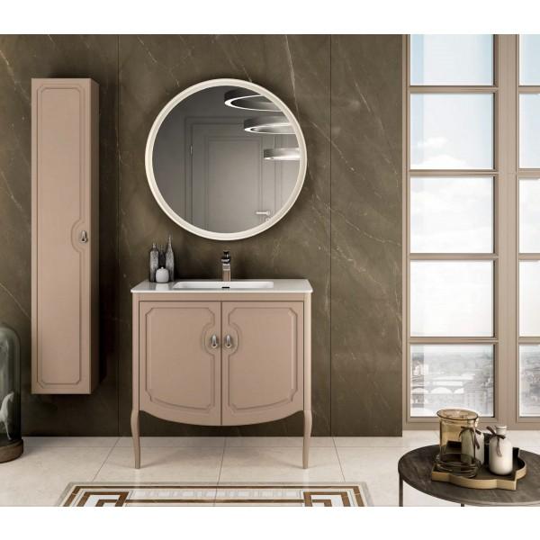 Комплект мебели STURM Fleur 850*510*830 мм раковина с 1 отв. под смеситель - белый глянец, тумба с 2 распаш. фасадами, бежевый матовый ST-FLEUR85G-CM