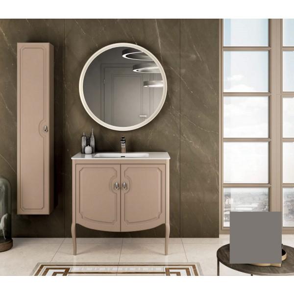Комплект мебели STURM Fleur 850*510*830 мм раковина с 1 отв. под смеситель - белый глянец, тумба с 2 распаш. фасадами, серый матовый ST-FLEUR85G-GM