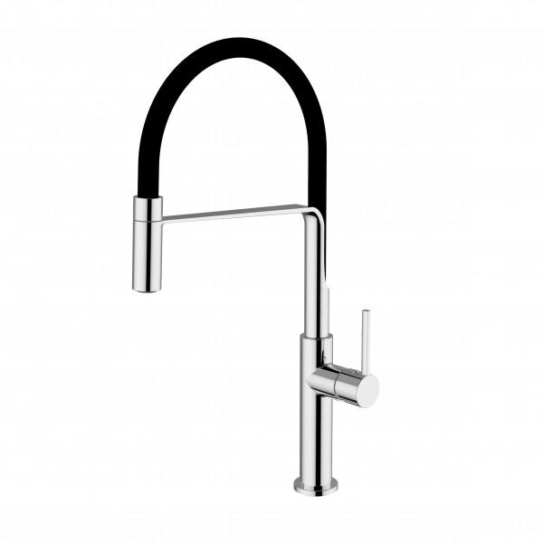 Смеситель STURM Zona di Gusto на 1 отв. с гибким силиконовым изливом (высота 255 мм L=220 мм) для кухонной мойки, хром/чёрный шланг ST-GUS-7523-CR