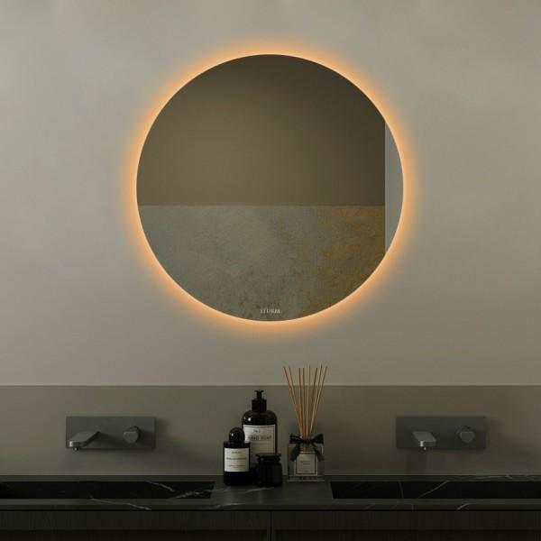 Зеркало STURM Melle, 60х2.9 см, LED подсветка по диаметру тёплая, выключатель на взмах, ST-MELLE606029-CR